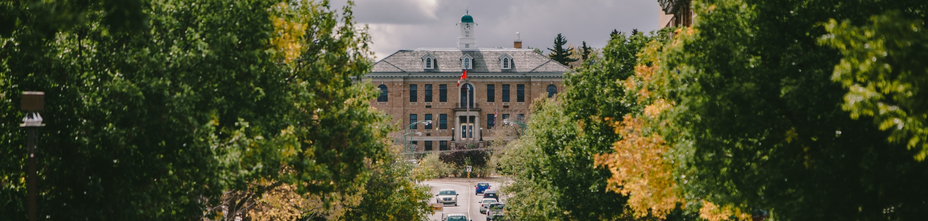 View of courthouse up on a hill