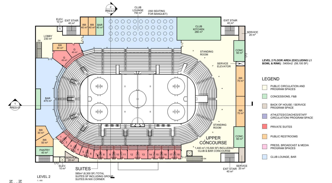 concept drawing of level 1 of the large arena and event centre