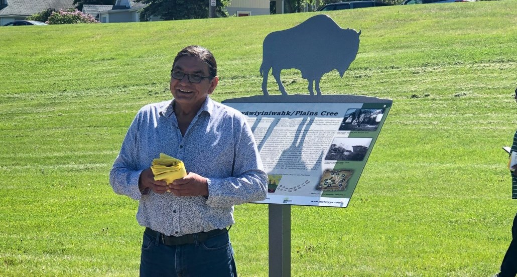 Willie Ermine, Plains Cree Knowledge Keeper, presents at the Interpretive Signs Unveiling