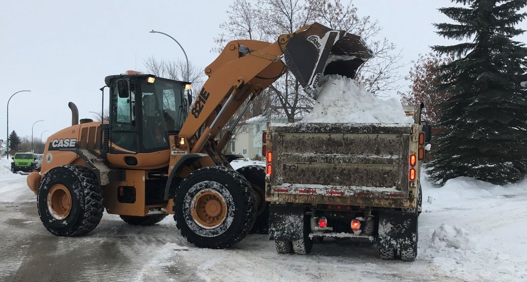 snow clearing on Bradbury and Vickers School