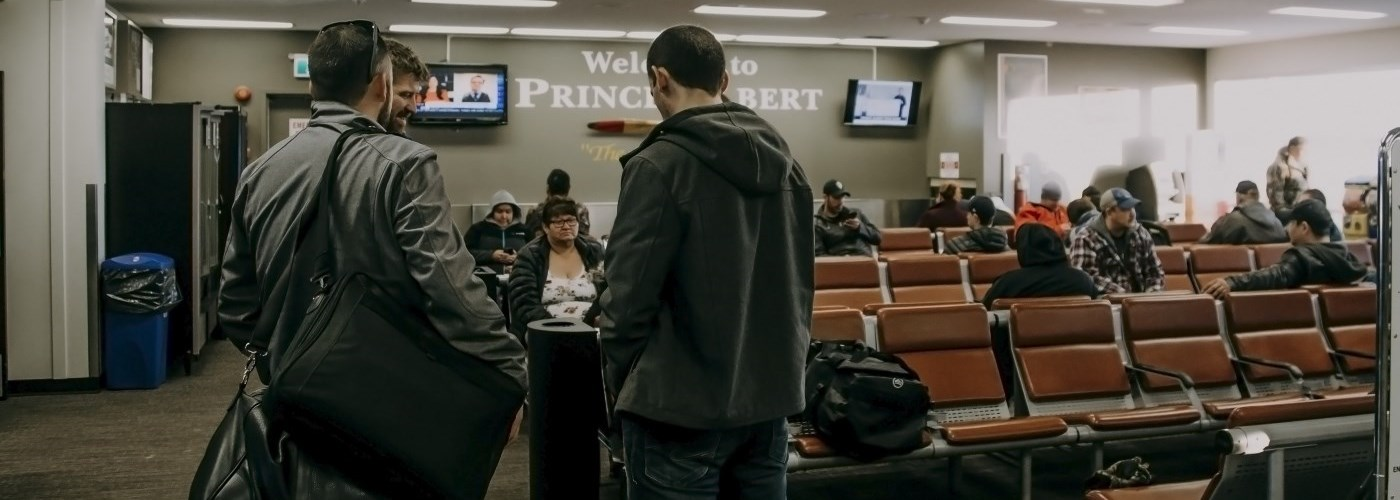 Passengers waiting for a flight at the Prince Albert Airport
