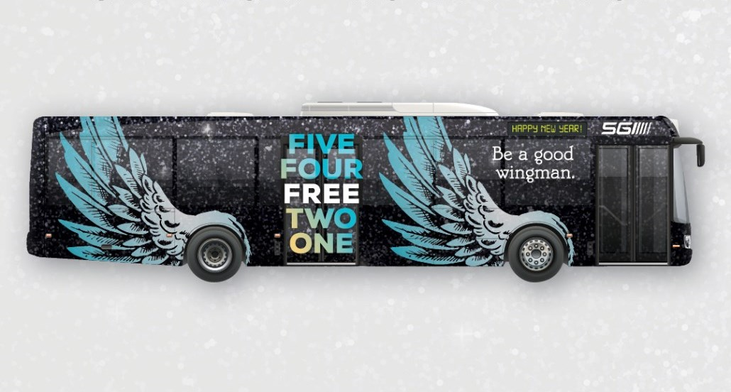 transit bus branded for new years eve program