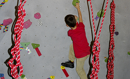 Child on the climbing wall