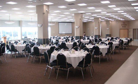 banquet room set up at the Ches Leach Lounge
