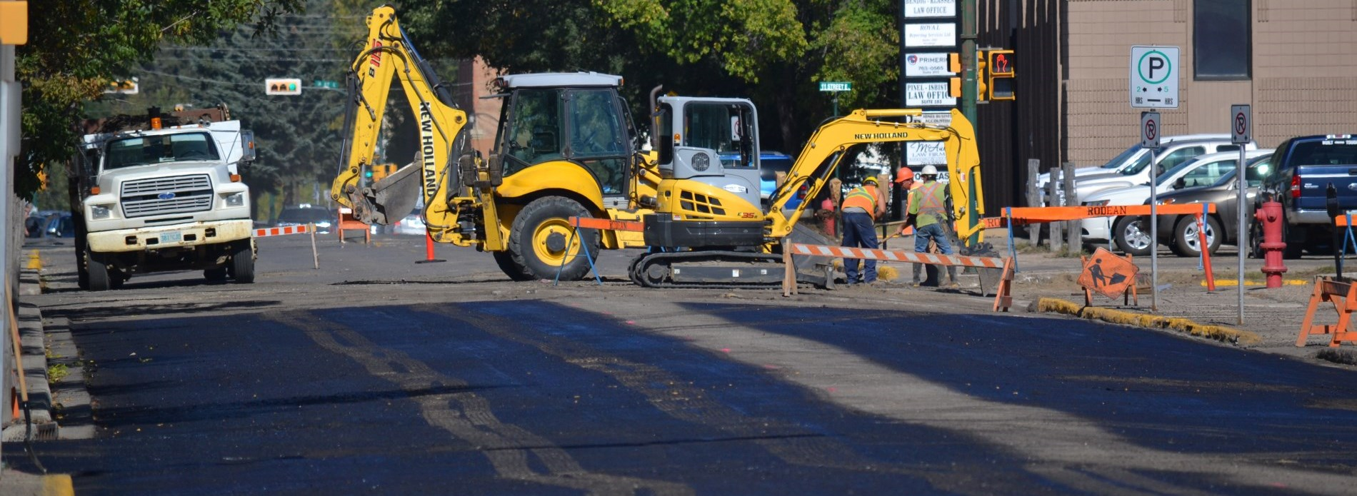 crews pave 1st avenue in prince albert
